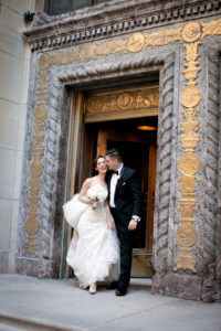 Bride and groom in Old Montreal