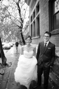 Candid black and white wedding photo