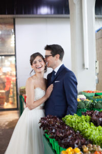 wedding session at Jean Talon Market in Montreal