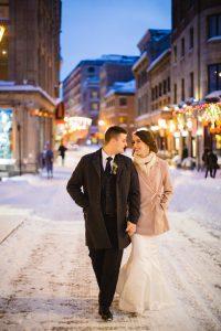 Old Montreal winter wedding