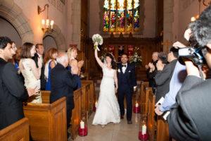 bride and groom exit chapel