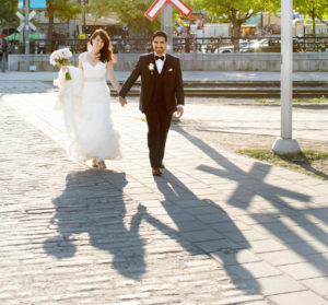 Bride and groom in Old Port of Montreal